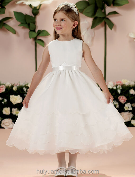 Últimas blanco del bebé del vestido del cuello redondo de la flor ...
