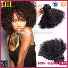 2015 Excellent style grade 8a afro curl raw virgin real brazilian hair clip ponytail