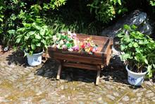 garden wooden planter wooden flower pot with stand ALS-1170