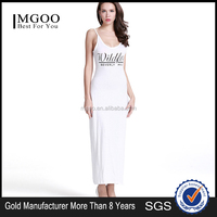 MGOO OEM Services Eco-friendly Cotton Rayon Maxi Sleeveless Dress With Letters Print Summer Beach Dress D381