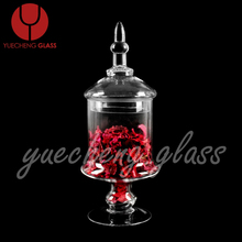 high quality color box packed lead free straight glass candy jar wholesale