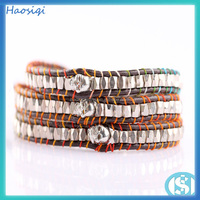 3 wrap handmade platinum plating copper beads & alloy skull bracelet