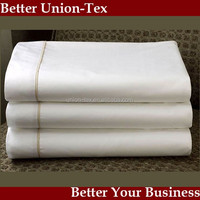 Bed Linen Collection 5 star Luxury Quality T400 Sateen 100%cotton White Hotel Top Sheet and pillow case with panel strip
