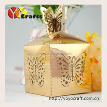 2015 best sell metallic gold laser cut butterfly wedding candy packaging box