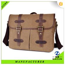 unique mix material waterproof fabric leather coffee retro men briefcase