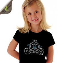 Girl's Cotton T-shirt With Rhinestone Transfer Design