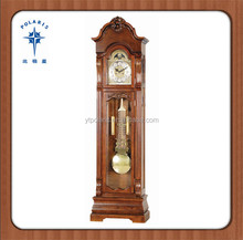 China Wood carving imperial antique floor clock black