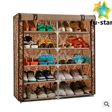 PN 6-tier 2 doors fabric portable standard Shoe Cabinet Rack with Cover Organization Housekeeping Shoe Rack