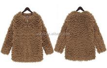 Brown Fleece faux fur coat for ladies/Women's Plush Cashmere terry short outwear