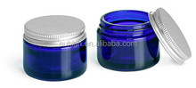 30g blue glass cream bottle with lid
