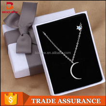wholesale competitive price moon and star white gold chunky necklace for women
