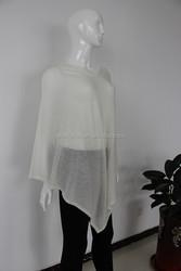 Wholesale 14gg flat knit V-neck summer wearing women Merino wool acrylic nylon blend ponsho wraps