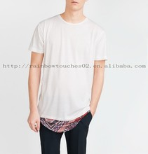 fashion printed hem white famous brand name t shirts for men