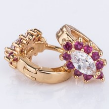 2015 fashion heart shaped simple design gemstone earrings set