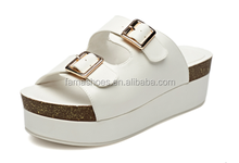 15 years factory comfortable leather buckle cord outsole sandals