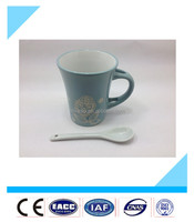 2015 blue cute flower print ceramic mugs with white ceramic spoons