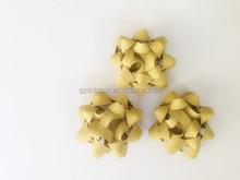 Golden Metallic Star Ribbon Bow with Glitter Power/Various Metallic Decoration ribbon star pre-made ribbon bow