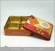 popular pretty design cookie metal tin packaging, wholesale mooncake tin box/container