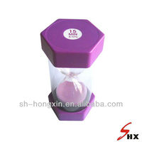 large size plastic sand timer/hourglass 15 minutes and purple color