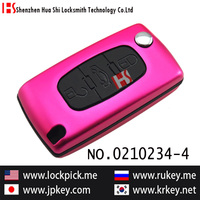 car aluminium alloy 3 button remote folding key cover for Peugt(pink) 0210234-4