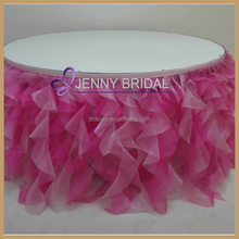 TC012B Custom Made Curly Willow Fancy Wedding Ruffled Table Skirt