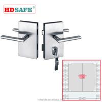 Security sus304 grade stainless steel safe glass door fittings double sided door handle lock