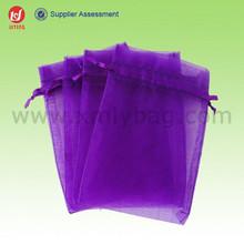 Nice Purple Xmas Tropical Gift Organza Bags With Logo Ribbon