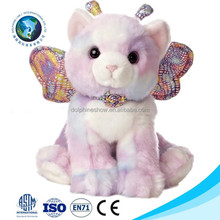 Custom cheap cute plush cat with wings promotional colorful soft lifelike cat plush toy