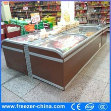 Chest freezer with glass top for frozen food commercial refrigerator curved island freezer