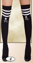 Black thigh highs with contrast skull and 3 stripes top