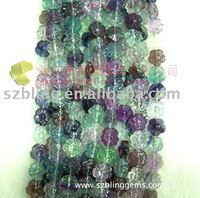 Wholesale popular Semi-precious stone Rainbow Fluorite rose flower carving loose beads