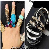 Free Sample Express Shipping 2015 New Fashion Punk Metal Women Jewelrys Simple Set Rings