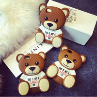 For iPhone 4S 5 5S 6 6Plus Silicone Cover Cartoon Toy Case 3D Teddy Bear Phone Case For Samsung Galaxy