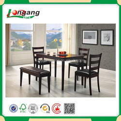 5pcs promotion garden dining table and chair furniture set patio sling furniture set wood frame