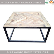 alibaba best sellers vintage industrial reclaimed wooden furniture parquetry top antique wood and metal coffee tables