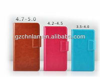 """New Arrival leather universal flip phone case With Sucker&Card Slots, 5"""" , 4.8"""", 4"""" available"""