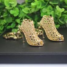 2015 new creative upscale gifts Refinement Lady Hollow diamond High-heeled Shoe Keychain metal keychain acrylic keychain Ring