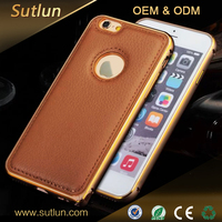 For Apple iPhone 6s luxury bumper metal aluminum hard leather back case cover for Apple iPhone 6s