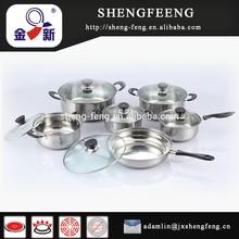 12 unids ollas de acero inoxidable fijados, tapa de vidrio, elemento barato con alta calidad