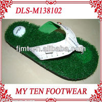 Grass Footbed Green Slippers For Men