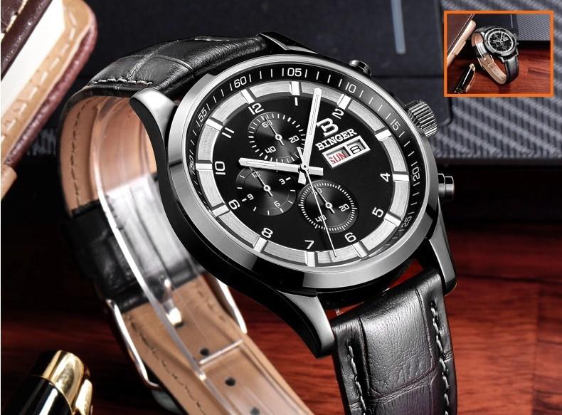 Новый Бингер Циферблат Хронограф Двойной Дата Мужские Серебро Нержавеющая Сталь Часы Многофункциональный Наручные Часы Мужская Кожаная Кварцевые Часы