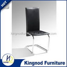 Korea modern design luxury wholesale hotel restaurant black white pu leather chromed metal leg dining room table chair