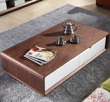 China Factory Living room mdf furniture walnut color coffee Table with wood top Sofa end table