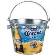 metal tin ice bucket with handle