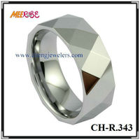 Wholesale faceted and polished shiny men's tungsten rings