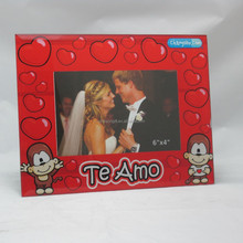 Hot Red Passionate Love 4x6 Glass Photo Picture Frame For New Couple's Wedding Gifts