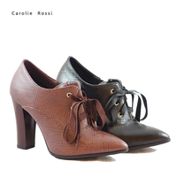 CR487ceshi Woman thick high heel shoes lace up casual sneaker ankle boots