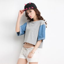 High quality cotton lady top, combination crop top, top selling products 2015
