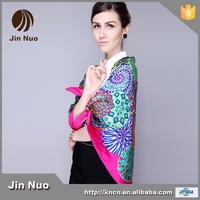 110*110cm wholesale 100% silk twill high quality square scarf digital print pashmina
