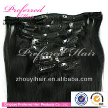 AAAAA Grade big sale 28 inch clip on chinese human hair extensions
